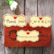 80pcs/pack MERCI Long Flower Type Thank You Especially For Red Heart Leather Color Sealing Sticker
