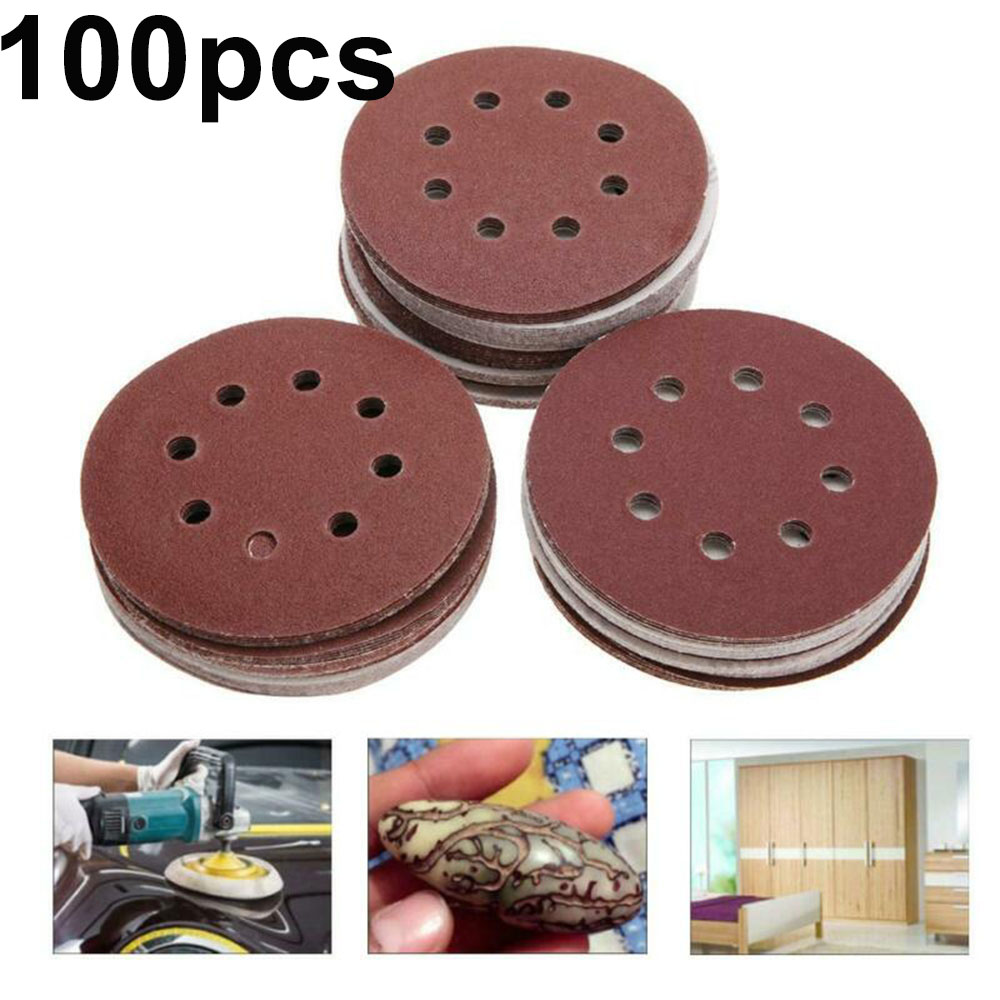 100pcs/Set 125mm 60/80/100/120/240 Grits Sanding Discs Silicon Carbide Polisher Grinding Wheels Pads Abrasive Tools