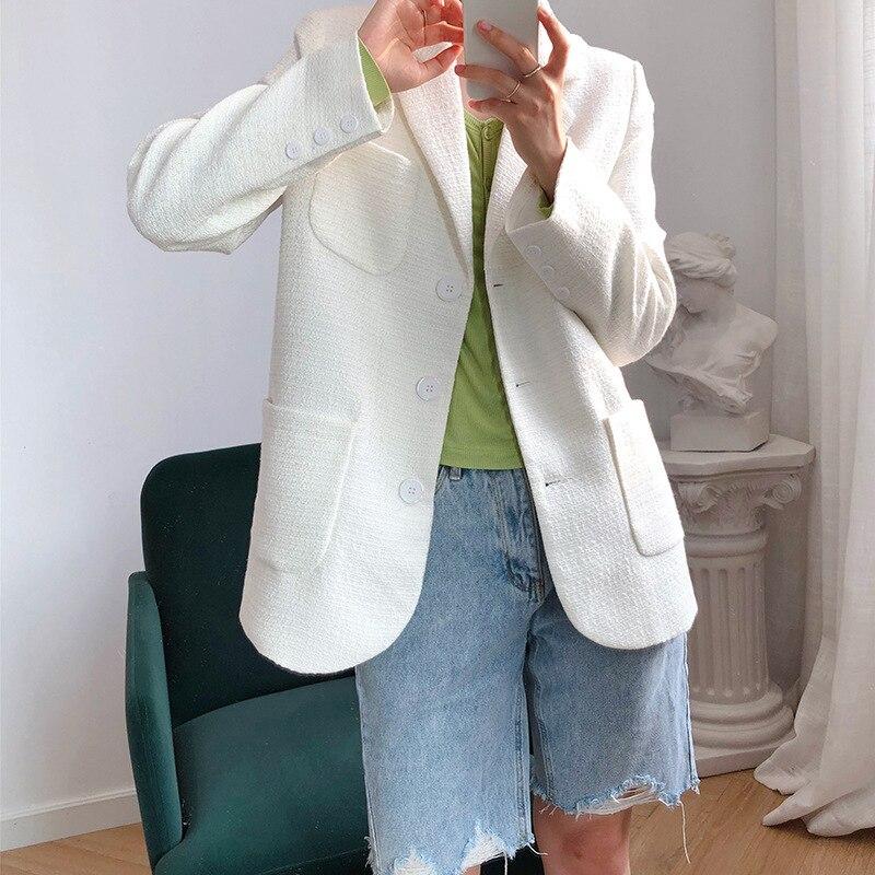 Mooirue Autumn Female Blazer Jacket Coat Cotton Single Breasted Slim White Suit Loose Harajuku  Cardigan  Feminine Overcoat