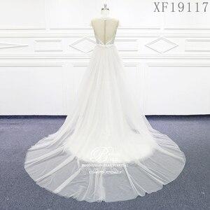 Image 3 - فساتين زفاف 2020 مصنوعة حسب الطلب Vestido De Noiva الأميرة خمر زينة مطرز الدانتيل الزفاف حجم كبير XF19117