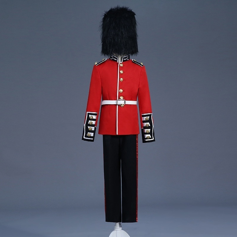 Boys Kids Children British Royal Guard Uniform Soldier Grenadier Trooper Costume Jacket Hussar Drum Mess Fancy Dress 903-B311