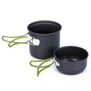 Image 3 - Кухонная посуда для кемпинга, антипригарная посуда для открытого воздуха, сковородки с сетчатым мешком, набор для пешего туризма, пикника, посуда, посуда