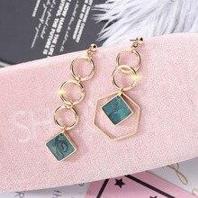 1PC Dangle Earrings Women Trendy Geometric Geometrically Asymmetric Long Fringed Eardrop Drop Fashion Jewelry