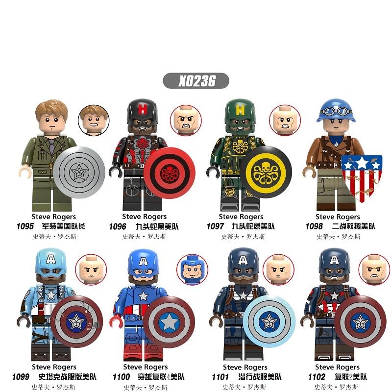 Super Heroes Movie Mini Captain America Steve Rogers Shield Model Building Blocks Bricks For Kids Gift Toys X0236