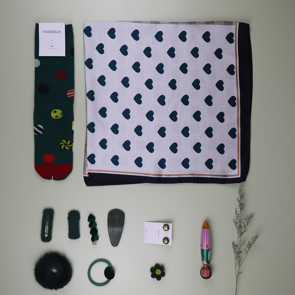 Fashion Scarf Women Unique Scarf Gift Set Friend's Gift Lover Gift With Gift Box Earrings  Cute Socks 11pcs Set