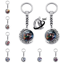 Kimetsu no Yaiba Keychain Anime COS Key Chain Kamado Tanjirou Double-Sided Spin Moon Pendant Metal Key Ring Adult Accessories(China)