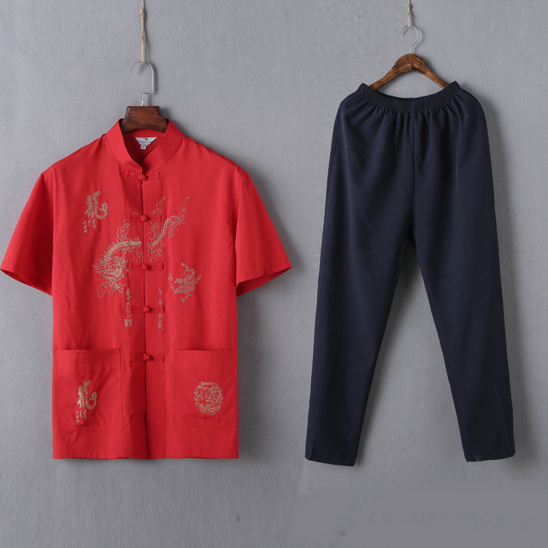 Middle-aged Short Sleeve Stand Collar Shirt Summer Men's Chinese Style Chinese Costume Embroidered Loose-Fit Tai Chi Clothing Ho