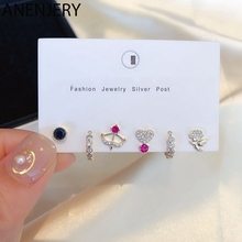ANENJERY Lovely Cupid's Arrow Flower Stud Earrings Set Gold Silver Color Colorful Cubic Zircon 6-piece Earrings Set S-E1203