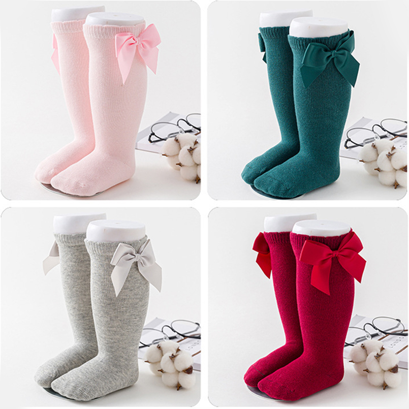 3-10Y Deer Mum Girls Cute Princess Knee High Socks Toddler Lovely Bowknot Boot Sox Solid Color Long Stocking