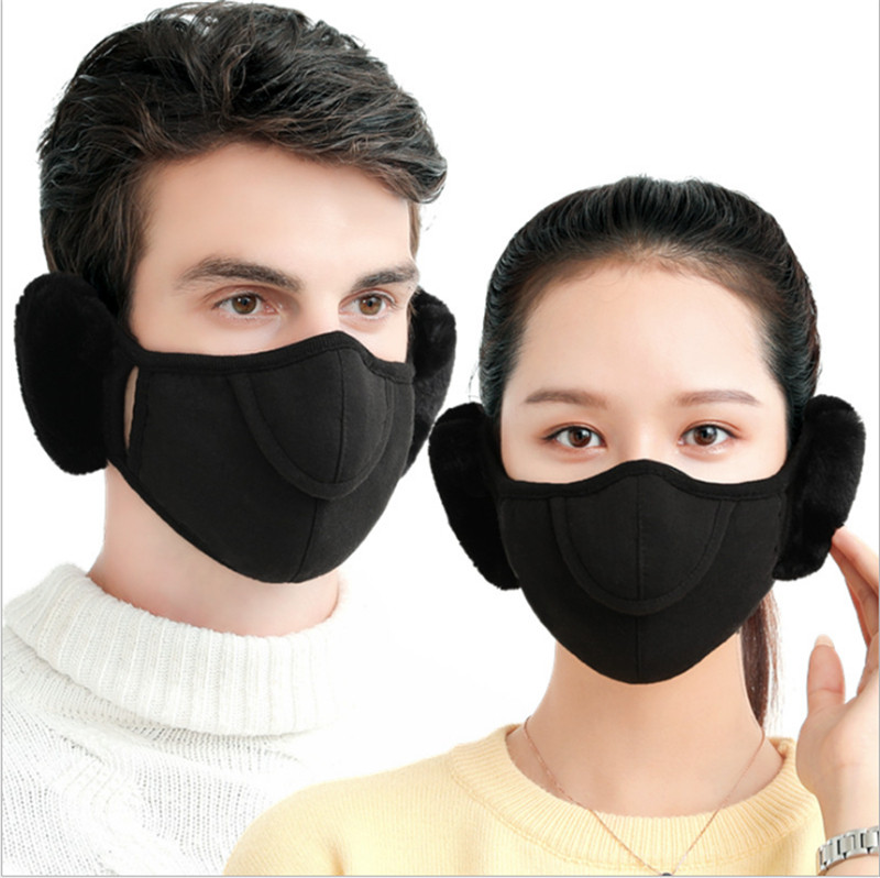 1pcs Unisex Winter Warm Face Mask With Earmuffs Breathable Women Men Masks Nose Part Adjustable Mask Mouth Cover For Outdoor