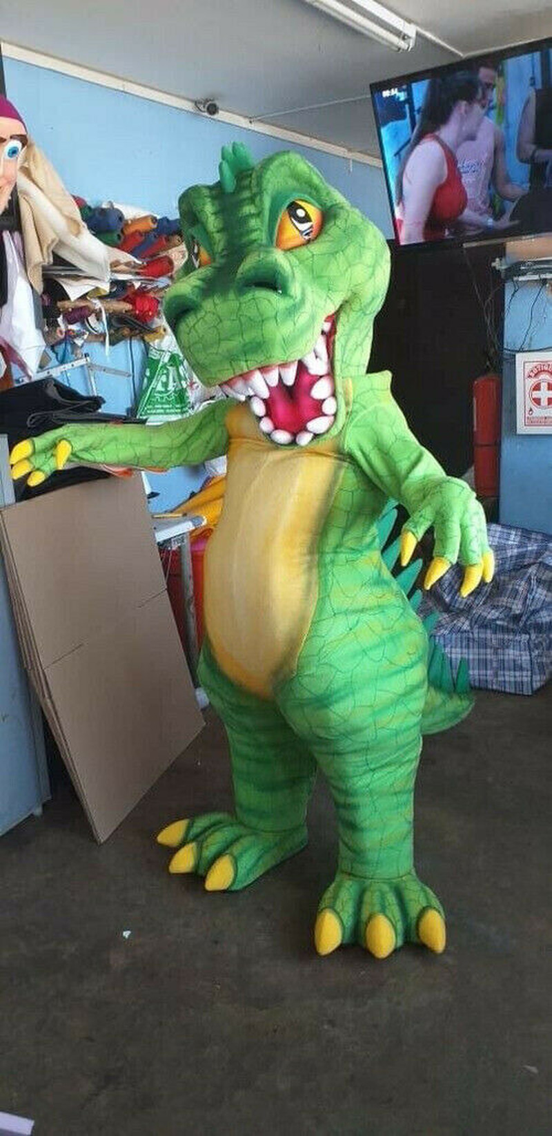 Halloween Green Dinosaur Mascot Costume Suit Cosplay Party Fancy Dress Outfits Advertising Promotion Carnival Adults Parade 2019