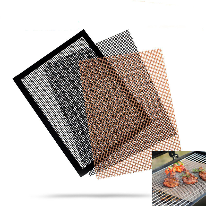 Non-stick Barbecue Grilling Mat High Security Grid Shape BBQ Mat Heat Resistance Reusable Grill Mesh Kitchen Gadgets Accessories