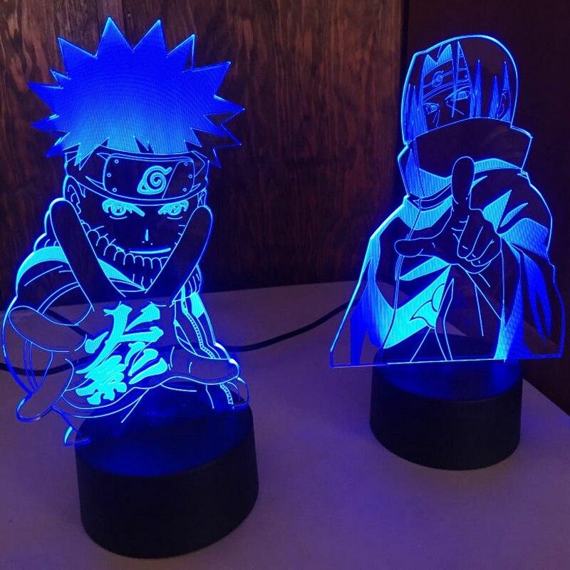 Светодиодный ночсветильник из аниме «Наруто удзумаки», Team 7 Sasuke Kakashi Hatake, светильник для детской спальни, лампа Итачи Учиха 3d, детский подаро...