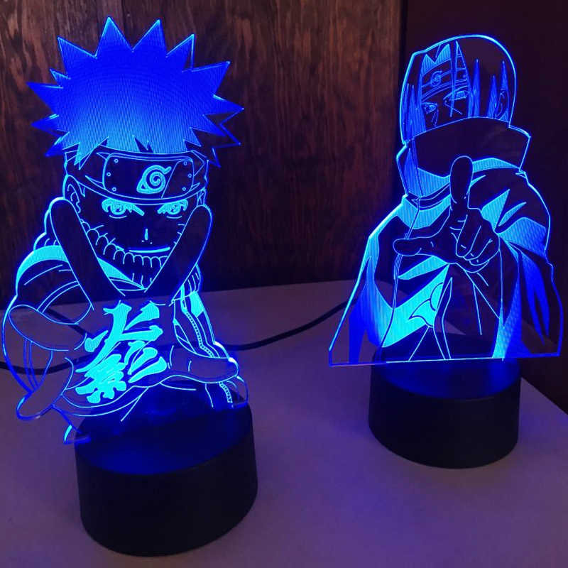 L/ámpara De Ilusi/ón 3D Luz De Noche Led Anime Naruto Uzumaki Equipo De Ni/ños 7 Kakashi Hatake Decoraci/ón De La Habitaci/ón Infantil Colorido Sasuke Uchiha