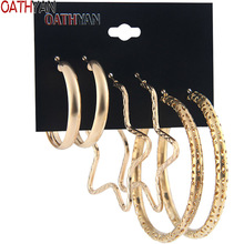 OATHYAN 3 Pairs/Set Punk Style Big Hollow Round Hoop Earrings Sets Female Star Pentagram Oversize Circle Earring For Women Gift