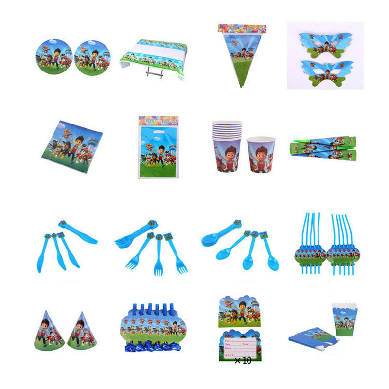 Paw Patrol Cartoon Pattern Birthday Holiday Children Birthday Party Supplies Patrulla Canina Party Decoration Set Event 2D39