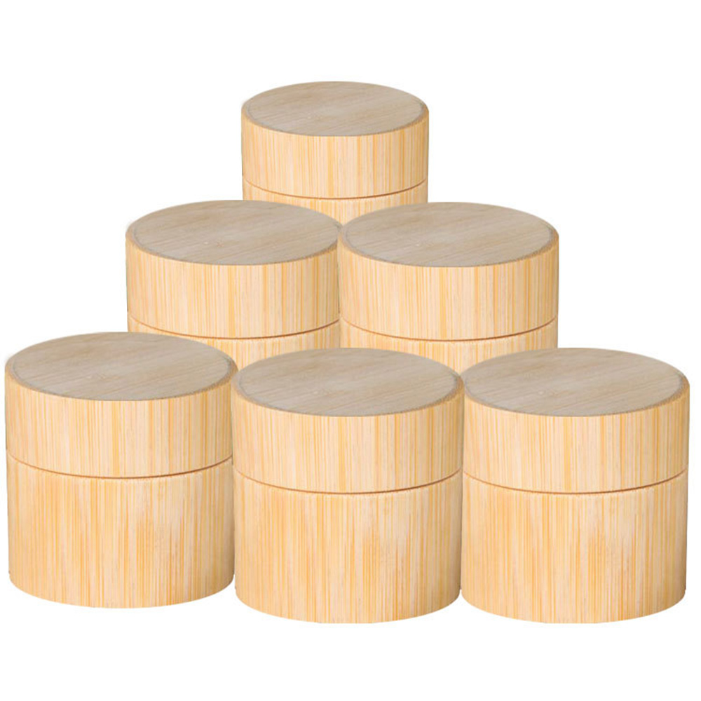 Natural Bamboo Refillable Bottle Cosmetics Jar Box Makeup Cream Storage Pot Container Portable Round Bottle