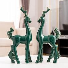 Home Decoration Accessories Modern Ceramic Deer Statues for Decoration Living Room Decoration Modern Art Sculpture Souvenir Gift