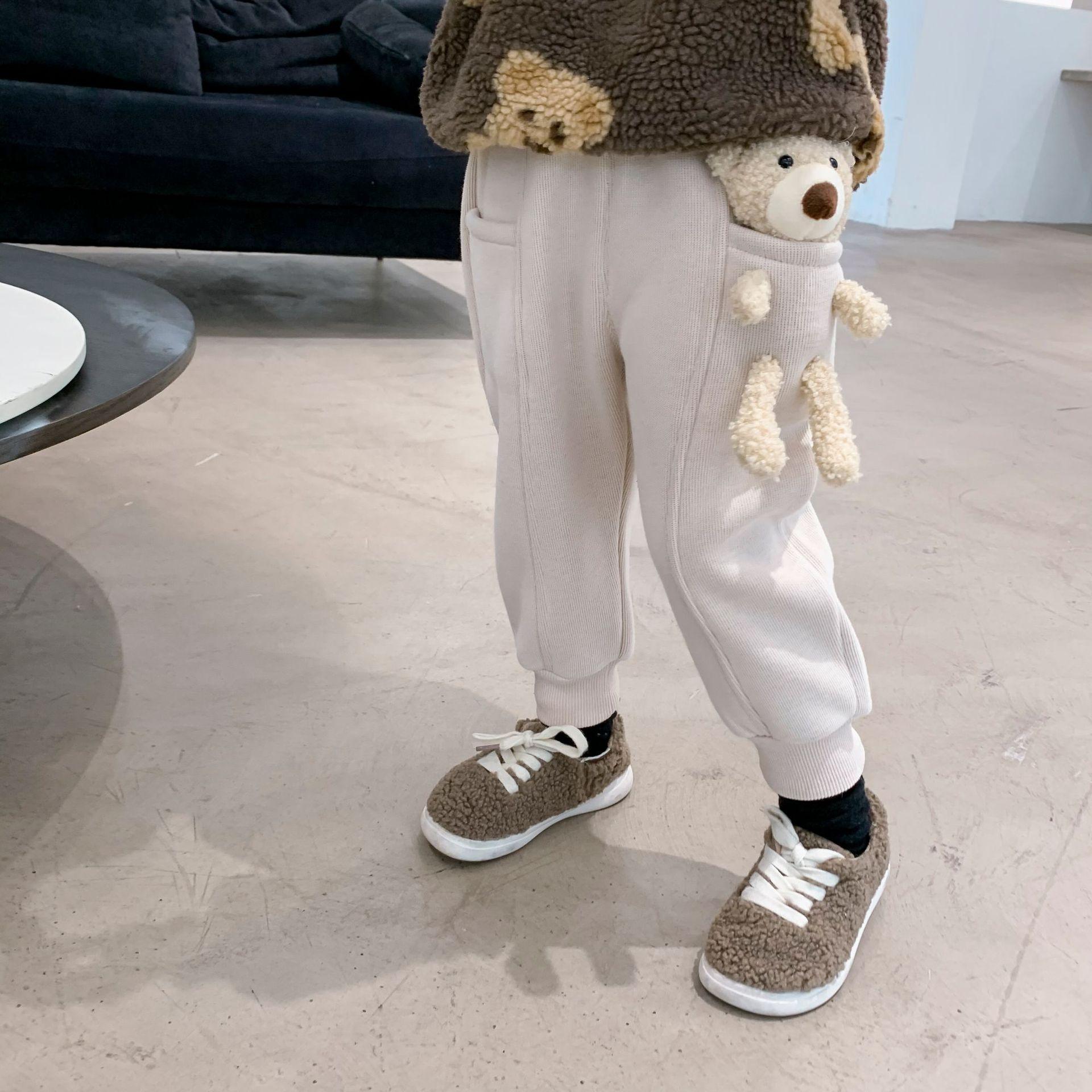 2021 Autumn Winter New Arrival Boys and Girls Cartoon Bear Pants Kids Warm Fleece Trousers 4