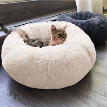 Длинная плюшевая супер мягкая кровать для питомца кошки питомник для собаки круглый зимний теплый спальный мешок для щенка подушка коврик переносные принадлежности для кошек PD045