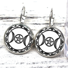 Triple Moon Goddess Witchcraft Five-pointed Star Magic Amulet Earrings Female Moon Stud Earring Vintage Jewelry Gift Ear Jewelry triple moon