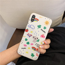 JAMULAR Cartoon Graffiti Case Cover For iPhone XR XS MAX X 7 8 6 6s Plus Funny Pattern Rainbow Phone Coque Soft IMD Fundas Shell