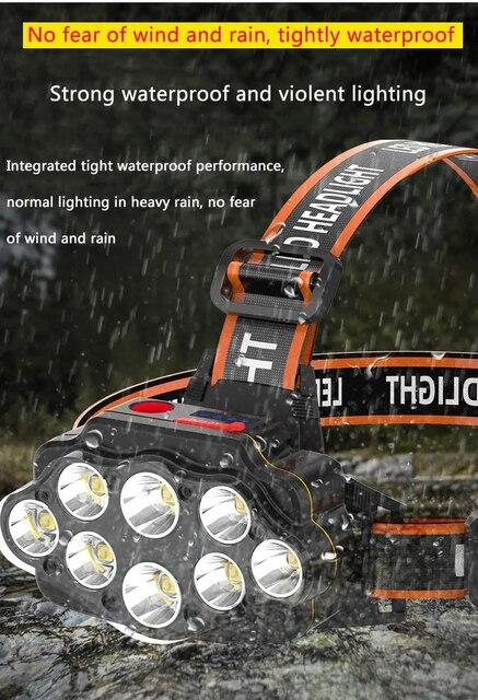 Most Bright 8 LED Headlight USB Rechargeable Headlamp High Lumen Head Lamp Light Waterproof Head Torch 70000Lumens Headlamps 3