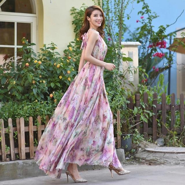 Summer Floral Long Chiffon Maxi Dress Gown Plus Sizes celebrity/graduation/Dinner Dress Beach Bridesmaid Sundress 1