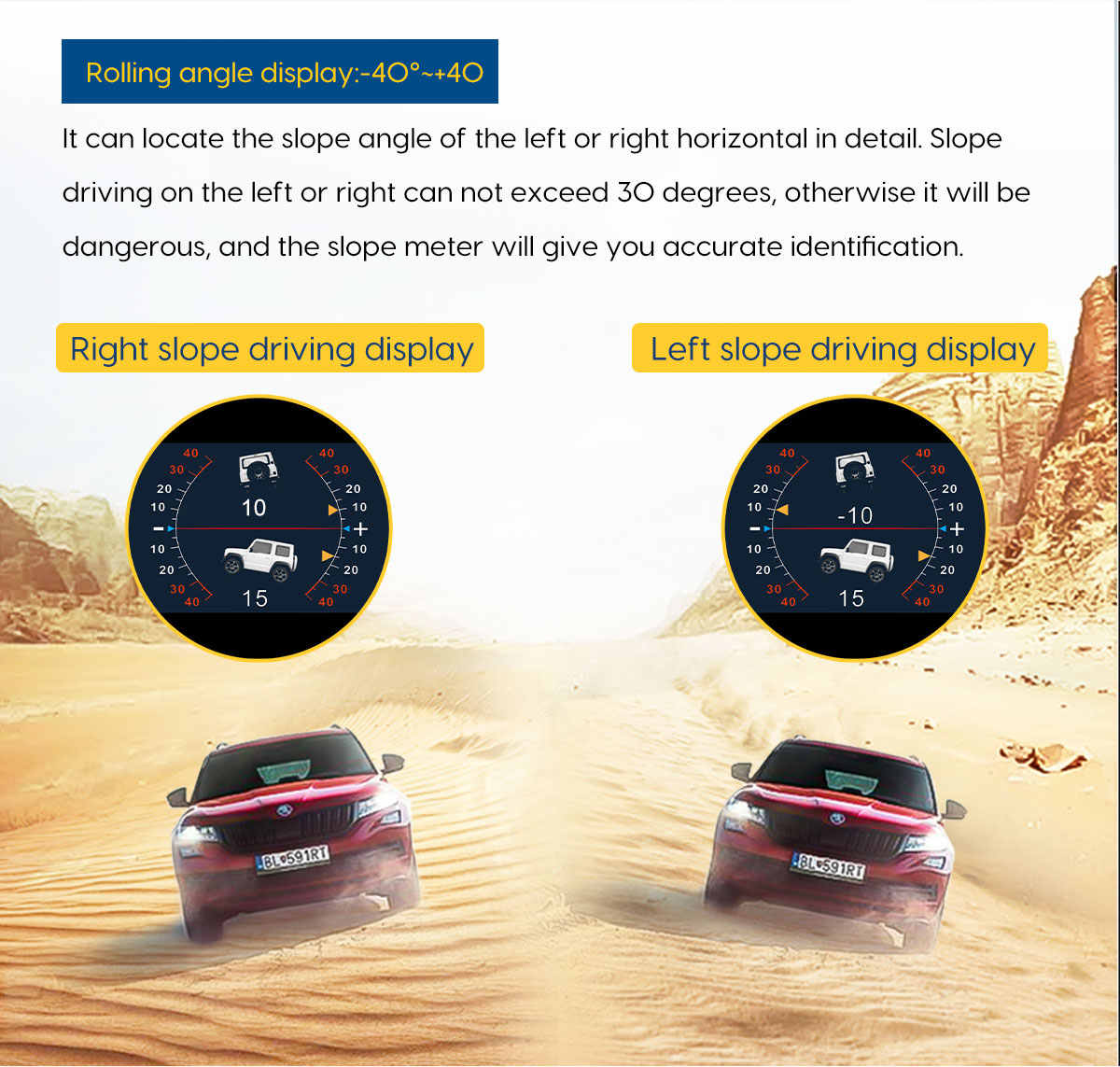 AUTOOL X95 다기능 GPS 속도 PMH KMH 슬로프 미터 경사계 자동차 나침반 피치 틸트 각도 각도기 위도 경도