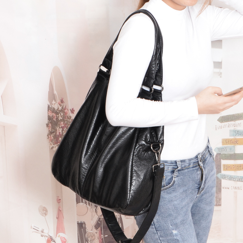 New Burlie Large Capacity Washed Crossbody Handbags Women Shoulder Bags  Soft Hobos Messenger Satchel Bags  Leather Casual Totes