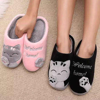 Women Winter Home Slippers Unisex Cartoon Cat Shoes Non-slip Soft Winter Warm House Slippers Indoor Bedroom Couples Floor Shoes