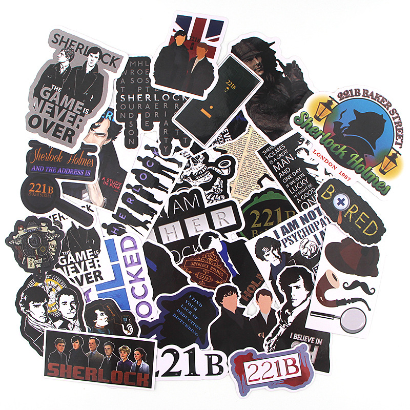 33Pcs/pack Sherlock Holmes American TV Series Stickers Toy Travel Sticker For Luggage Skateboard Laptop Stationery Fridge Decal