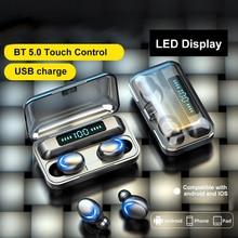 Наушники-вкладыши TWS Bluetooth 5,0 True Беспроводной спортивные наушники гарнитура с микрофоном светодиодный Дисплей USB Выход Мощность банка