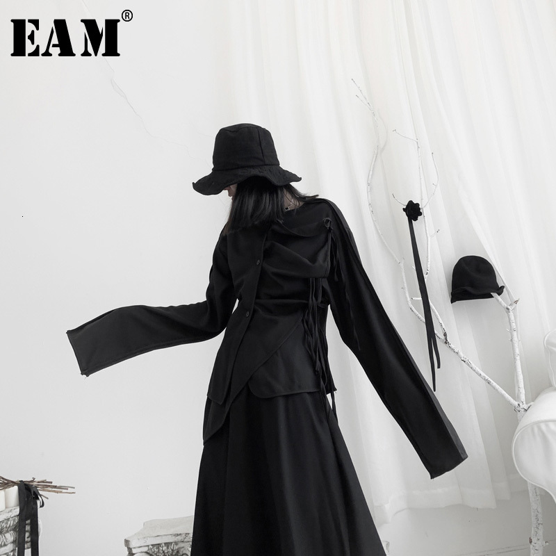 [EAM] Women Pleated Asymmetrical Big Size Blouse New Round Neck Long Sleeve Loose Fit Shirt Fashion Spring Autumn 2020 19A-a620