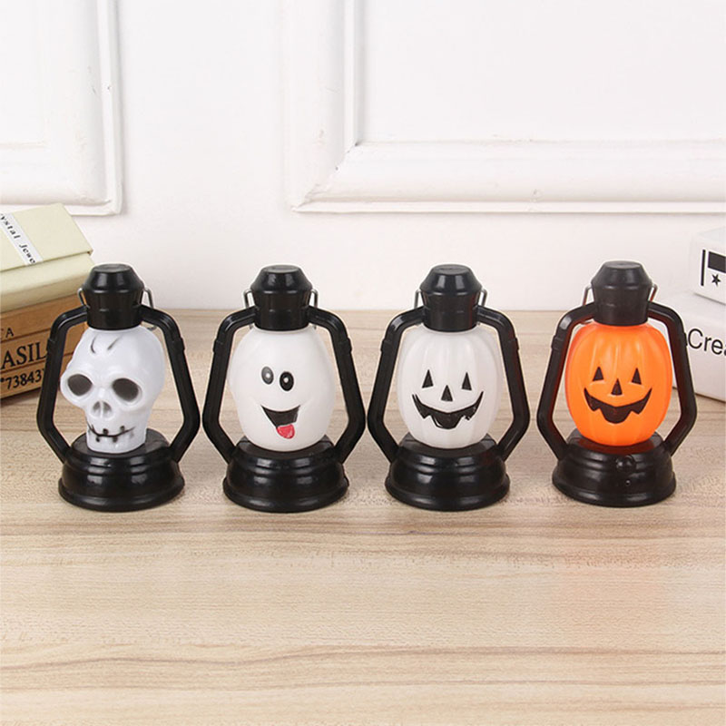 Halloween Lantern Night Light 3D Pumpkin Skull Shape Lamp With Handle For Garden Home Holiday Decoration Kids Children Gifts