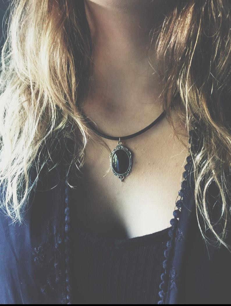 PITCH Black ONYX สร้อยคอ Gothic หิน Witchy เครื่องประดับคลาสสิกแฟชั่นลูกสาวของขวัญ MAGIC จี้ผู้หญิงลึกลับแม่มด 2019