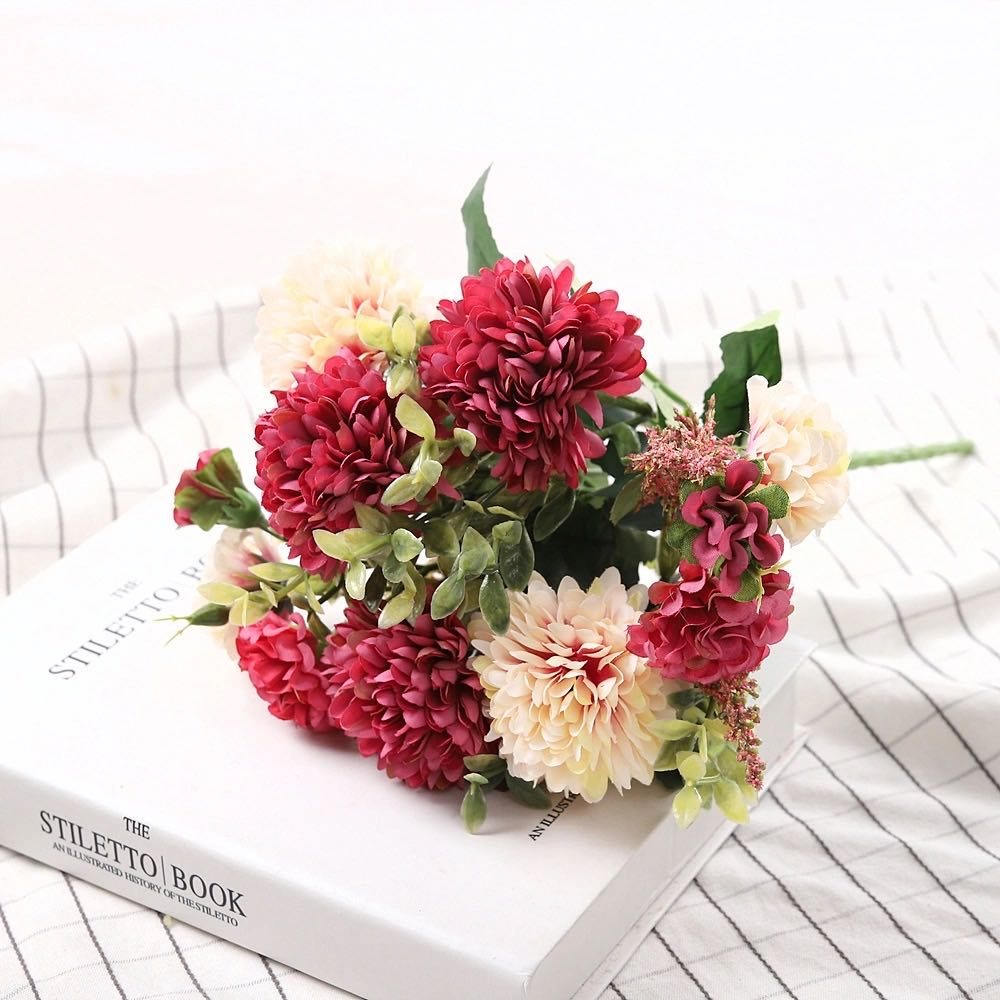 Peony Artificial Flowers High Quality Luxurious Bouquet Wedding Decoration for Home Table Decor Sky Blue Fake Flowers Hydrangea 11