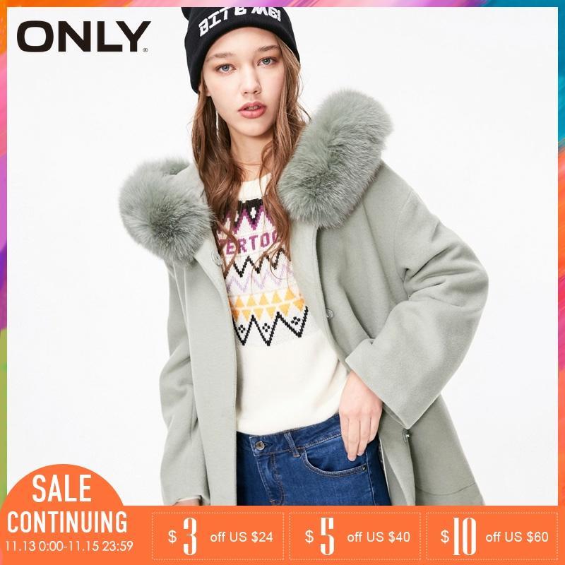 Apenas casaco de lã com cinto de comprimento médio de gola de pele de raposa quente feminino   11846t501