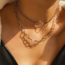 stainless steel double layer round necklace punk link chain circle pendant necklace hip hop women men fashion gothic jewelry New Gothic Double Layered Thick Chunky Chain Choker Necklace Jewelry for Women Punk Hip Hop Double Circle Charm Necklace