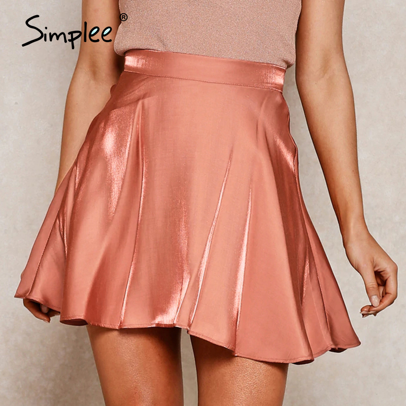 Simplee Sexy Satin High Waist Summer Skirt Women A-line Ruffled Soft Female Short Skirt Casual Party Wear Ladies Mini Skirt