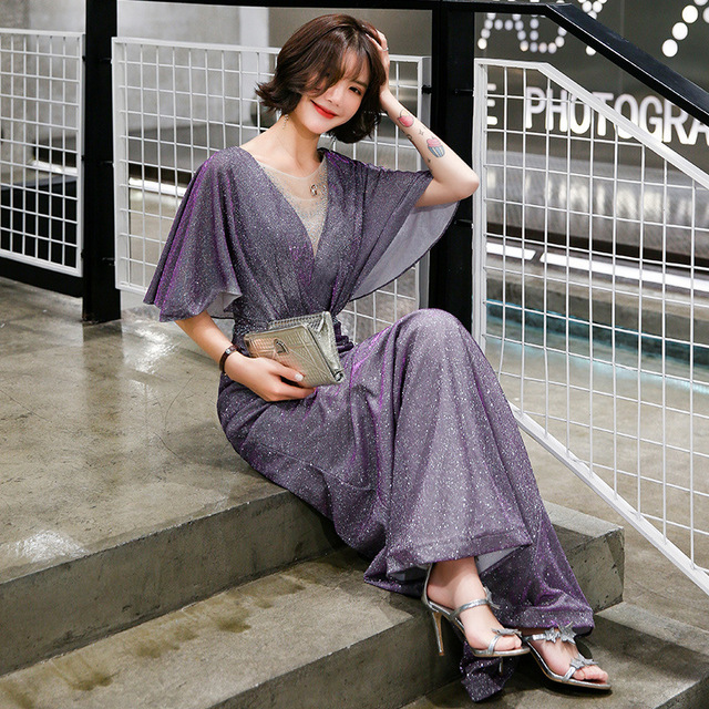 Elegant Evening Dress Purple Mermaid Long Women Party Dresses O-Neck Half Sleeve Formal Gowns Shawl Shining Robe De Soiree K199 5