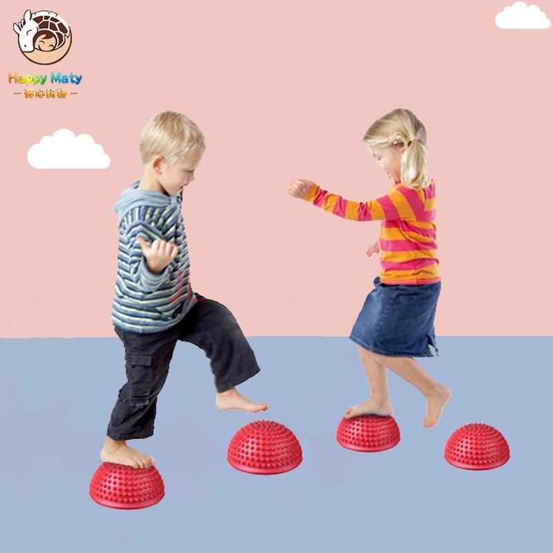 16cm meia bola física aparelho de fitness exercício crianças equilíbrio bola ponto massagem pisando pedras bosu equilíbrio brinquedo para crianças
