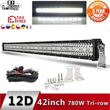 CO ışık 12D yüksek güç 3 Row Led çubuk Offroad 12V 390W 585W 780W 936W 975W Combo ışın 4x4 iş lambası şeridi kamyon ATV SUV tekne