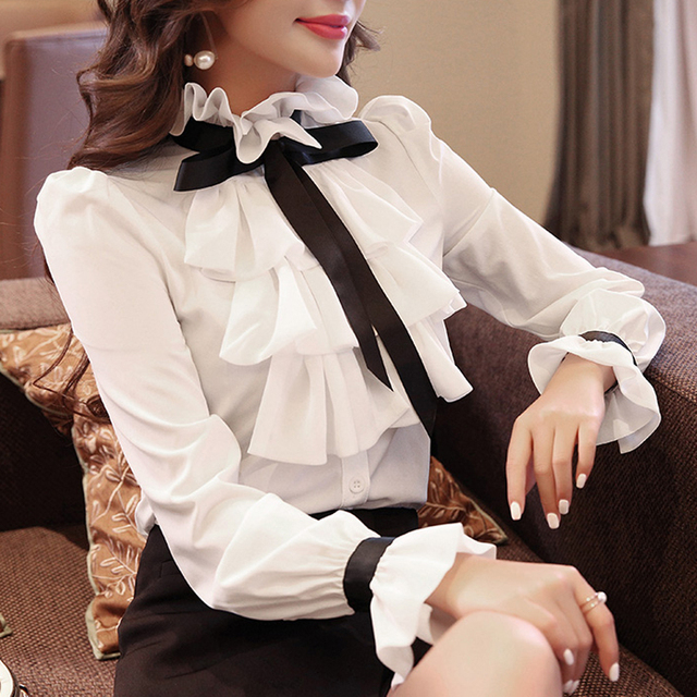 New shirt women Tops white Ruffles Bow Long Sleeve Shirt Chiffon Blouse 2021 New Work Wear Office Blusas Femininas Fashion 570A 1
