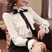 Nowa koszula damska bluzki białe Ruffles kokarda długie rękawy koszula bluzka szyfonowa 2021 nowa do pracy nosić biuro Blusas Femininas moda 570A tanie tanio Twicefanx CN (pochodzenie) POLIESTER spandex Akrylowe POLIAMID REGULAR mankiety średniej wielkości Z szyfonu Na wiosnę jesień