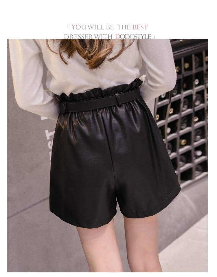 Elegant Leather Shorts Fashion High Waist Shorts Girls A-line Bottoms Wide-legged Shorts Autumn Winter Women 6312 50 83