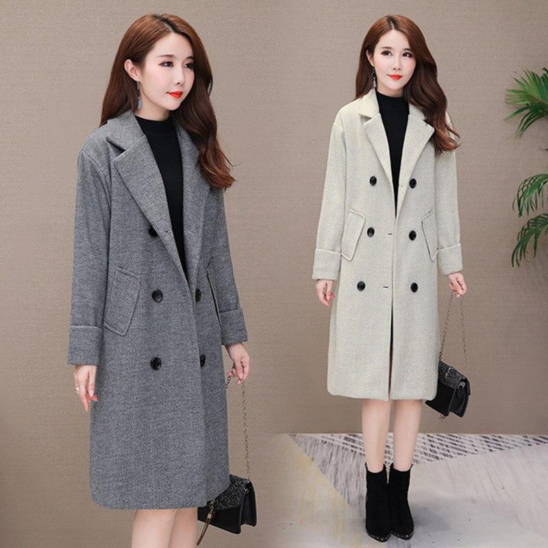 Automne hiver femmes laine manteaux 2019 nouvelle version coréenne haute qualité vestes Slim Cardigan laine femmes veste manteau gris