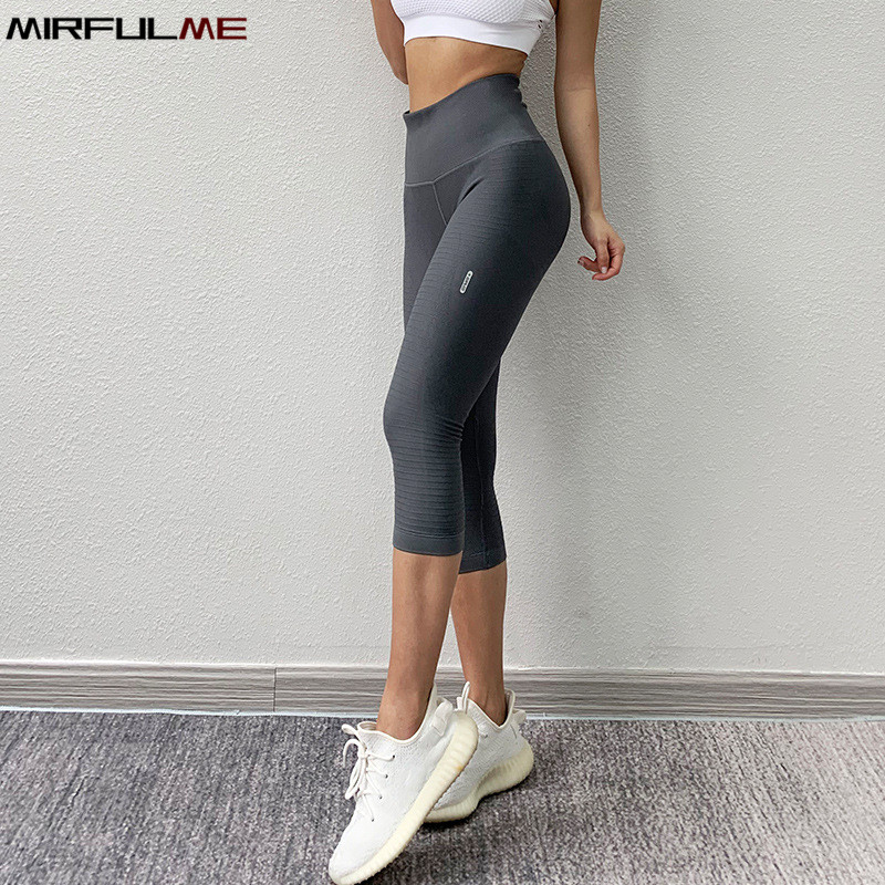 Elastic High Waist Sports Leggings Women Yoga Pants Quick Dry Capris 3/4 Running Trouser Female Crop Gym Leggings Fitness Tights