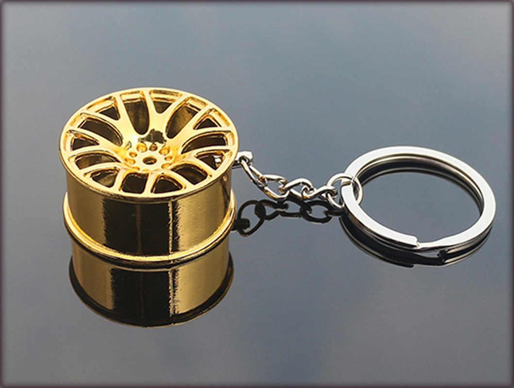 NOVO Luxo Metal Criativo Chaveiro Personalidade Chaveiro Cubo de Roda Aro Da Roda Modelo Do Carro Da Corrente Chave Chaveiro Chave Anéis