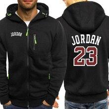 Jordan 23 Print męskie bluzy z kapturem gorąca sprzedaż jesienna kurtka bluza z zamkiem hip hopowa moda Streetwear Fitness Sport Outdoor dres